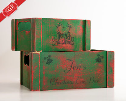 Rustic Wooden Gifts Box, Personalized stocking, Christmas Eve crate
