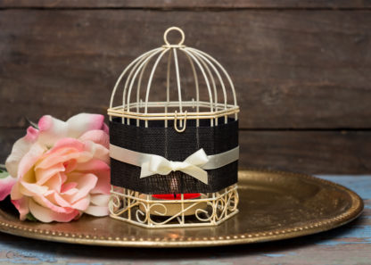 Black and White Wedding Set of 4 Tealight Candle Holder Metal Black White Bird Cages