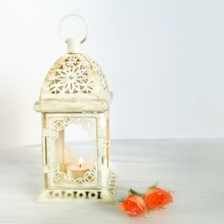 Unique Rustic Wedding Lantern, White Gold Metal Candle Holder