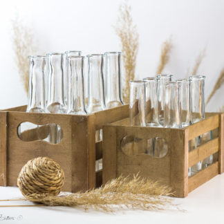 Set of 6 Bottles and Wooden Crate/ Rustic Wedding Drinking Glasses Alternative/ Bar Decor