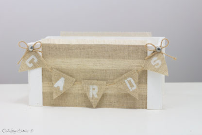 White Wedding Card Box with Banner Vintage Hessian Wedding Decor Barn Wood Crates Baskets Centerpiece Reception Decor