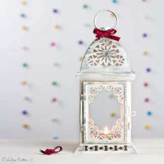Bohemian Hanging Lantern - Moroccan Candle Holder - White & Silver Wedding Lantern - Outdoor decor - Patio lighting - Boho lanterns