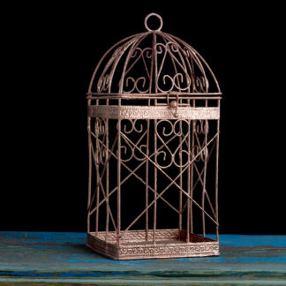 Rose Gold Bird Cage, Rose Gold Wedding Decor, Pink Gold Candle Lantern Centerpiece, Rose Gold Candle Holder, Rose Gold Wedding Cards Box