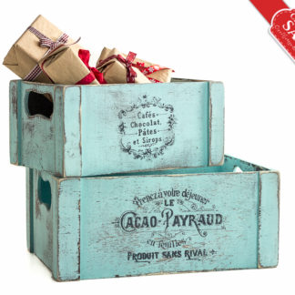 Holiday Gifts Shabby Blue Wooden Crate, Card Holder Favor Box, Wedding Flower Arrangement Christening Baptism Communion Decoration SET OF 2