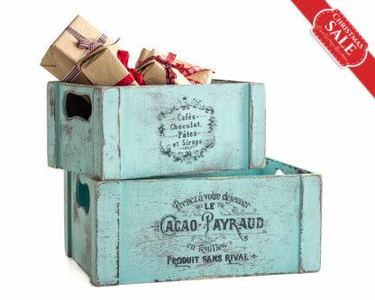 Holiday Gifts Shabby Blue Wooden Crate, Card Holder Favor Box, Wedding Flower Arrangement Christening Baptism Communion Decoration SET OF 2
