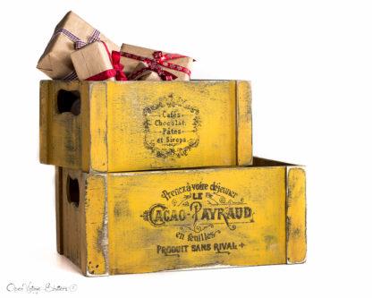 Set 2 Vintage wooden Crates French typography-Shabby chic-Rustic kitchen decor-Home decor-Vintage kitchen decor-Wooden Planter Box