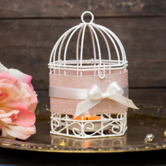 Bridesmaids Gifts - Pink Wedding Wire Bird Cages Set of 2