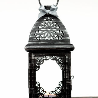 Black Silver Wedding Candle Lantern Centerpiece/ Moroccan Decor/ Filigree Metal Candle Holder/ Moorish Lighting